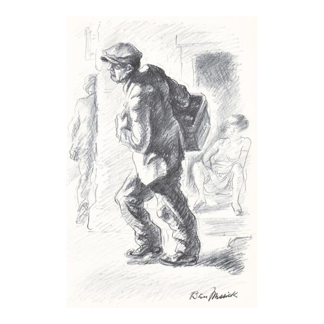 1930s Ben Messick Lithograph of Street Vendor For Sale