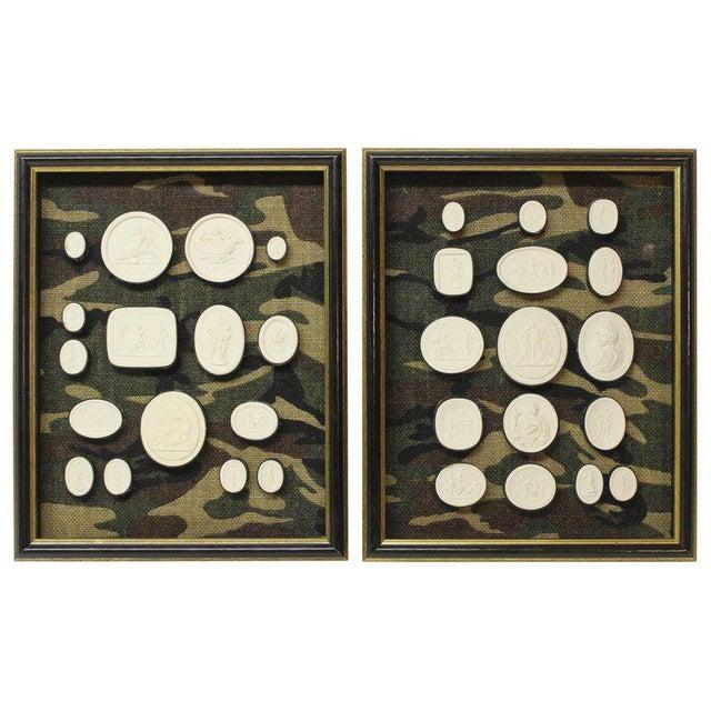Black Antique Plaster Framed Camouflage Intaglios - Set of 2 For Sale - Image 8 of 8