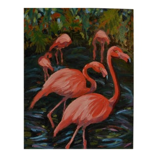 """Flamingle"" Palm Beach Flamingos Oil Painting"