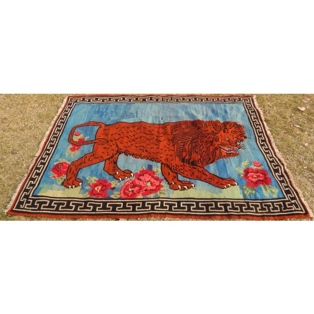 Vintage Gabbeh Lion Kilim Rug - 5'1'' X 7'3'' For Sale - Image 12 of 13