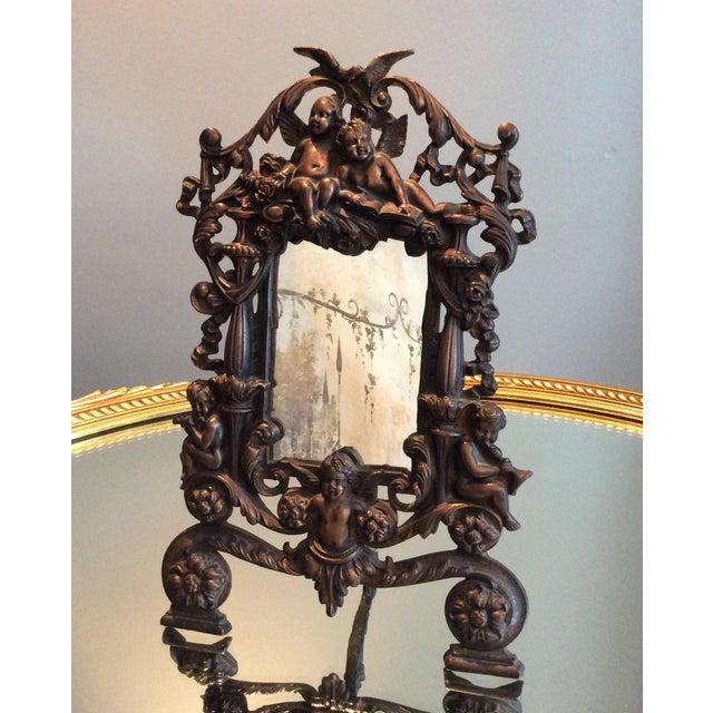 Antique Cast Iron Cherub Mirror - Image 2 of 11