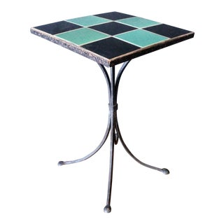 Mid-Century Wrought Iron Tile Top Garden Side Table For Sale