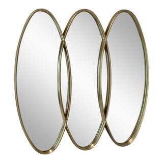 Tipple Oval Triptych Carved Wood Frame Gold Wall Mirror For Sale