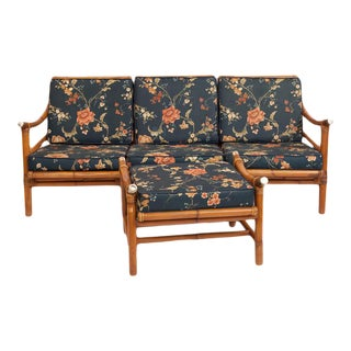 Ficks Reed Bamboo Sectional Sofa & Ottoman - Set of 4 For Sale