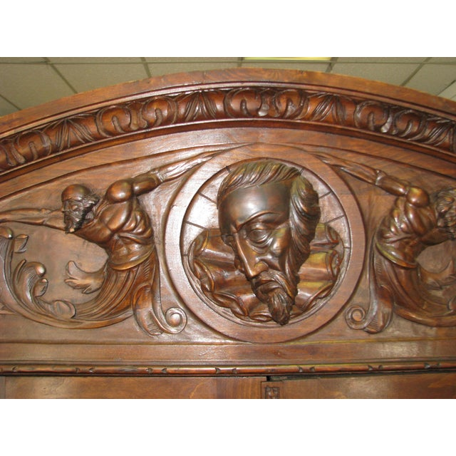 Antique Hand-Carved Italian Revival Armoire - Image 3 of 10