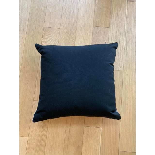 Boho Chic Black Pillows With White Embroidery Pattern For Sale - Image 3 of 5