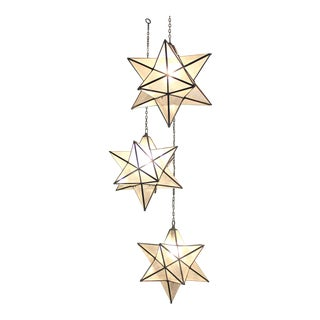 Solid Brass Glass Star Pendants - Set of 3