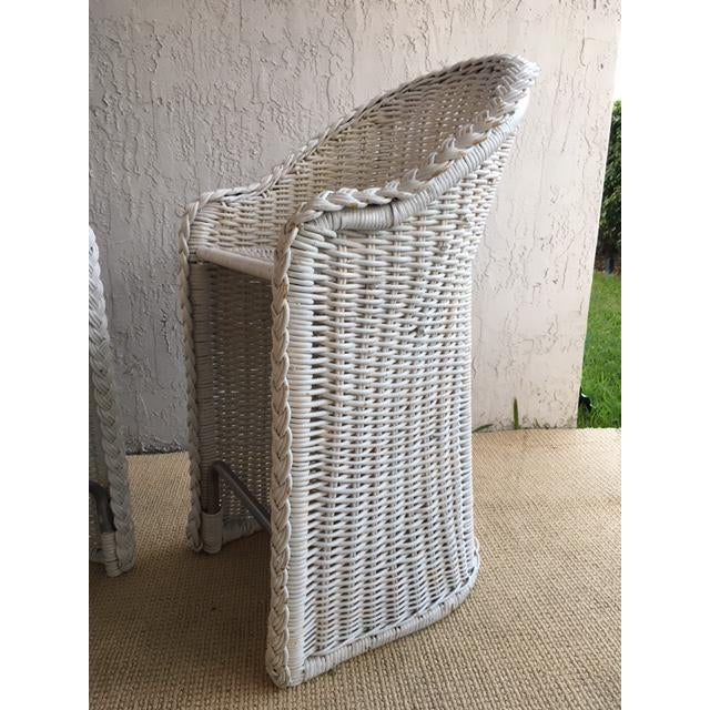 White Woven Rattan Bar Stools - a Pair For Sale - Image 8 of 9