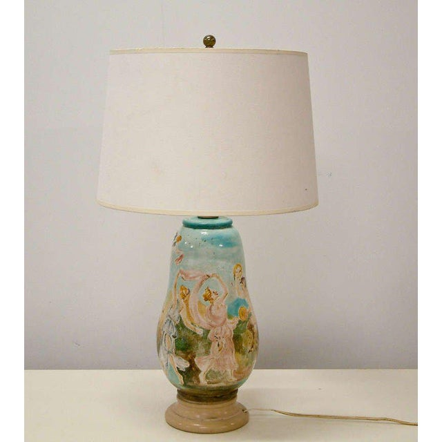 Mid-Century Modern Circa 1940 Professor Eugenio Pattarino Ceramic Lamp Italy For Sale - Image 3 of 11