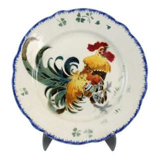 French Luneville K & G Rooster Plate 'Les Coqs'