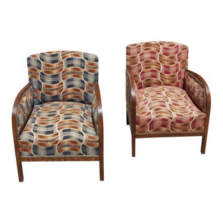 Beautiful Pair of French Art Deco Mahogany Speed Club Chair Circa 1940s.