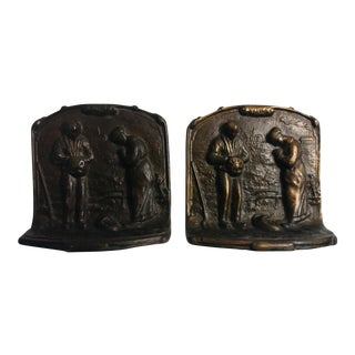 1940's Mid-Century Modern Fall Harvest Cast Iron Book Ends or Door Stops - a Pair For Sale