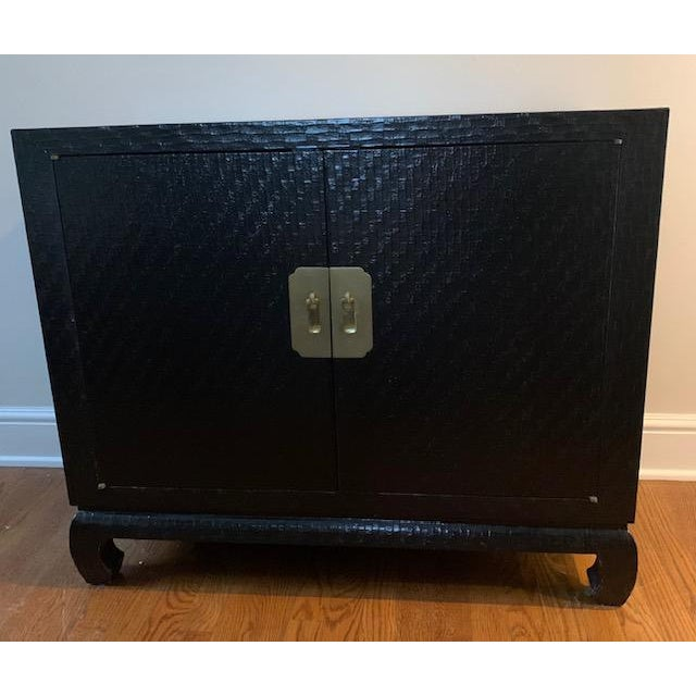 Baker Grasscloth Black Lacquered Ming Cabinet For Sale - Image 10 of 10