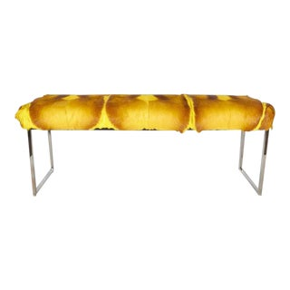 Exotic Springbok Fur Bench in Vibrant Hues of Yellow