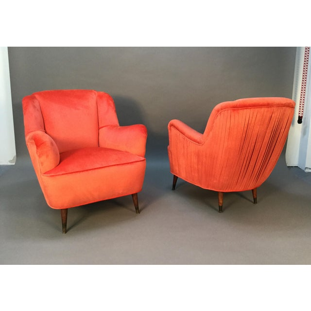 Mid Century Club Chairs With Velvet Pleat - Pair - Image 4 of 9