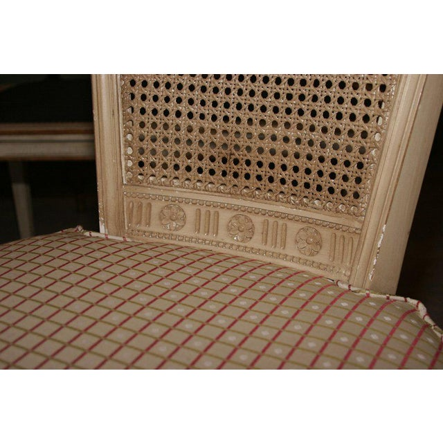 Set of Four White Painted Cane Back Chairs Stamped Jansen For Sale - Image 9 of 10