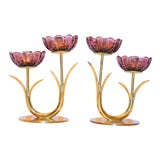 Image of Gunnar Ander for Ystad Metal Mid Century Amethyst Candlesticks - a Pair For Sale