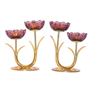 Gunnar Ander for Ystad Metall Mid Century Amethyst Candlesticks - a Pair For Sale