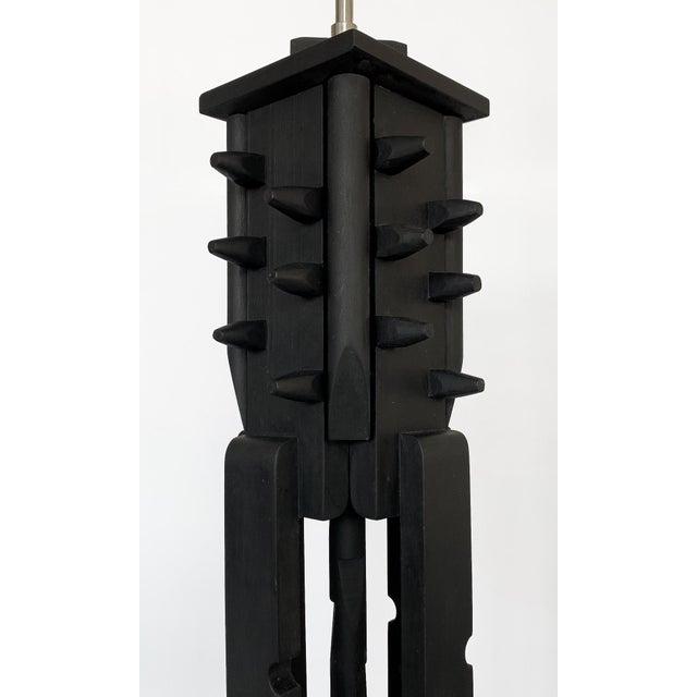 Black Mid-Century Modern Black Painted Wood Assemblage Floor Lamp For Sale - Image 8 of 13