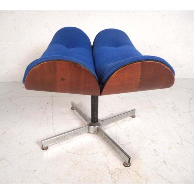 Blue Vintage Modern Eames Style Swivel Lounge Chair and Ottoman For Sale - Image 8 of 13