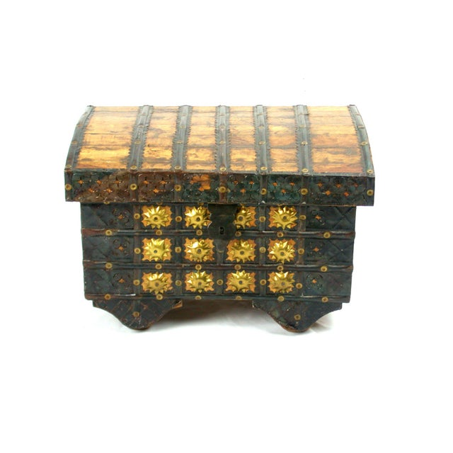 Hammered Brass Nailhead Trunk For Sale In San Francisco - Image 6 of 8