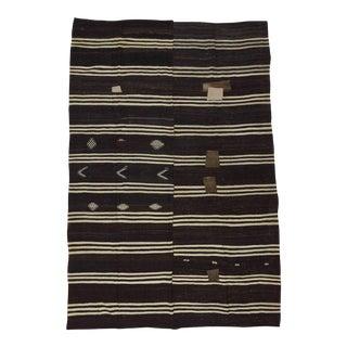 White Black Striped Vintage Kilim Rug - 8′9″ × 13′1″ For Sale