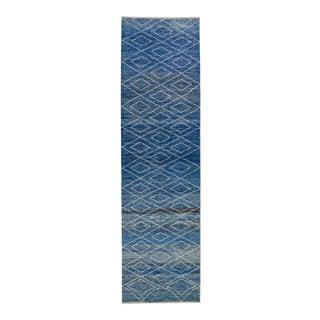 Modern Moroccan Style Handmade Tribal Blue Wool Runner For Sale