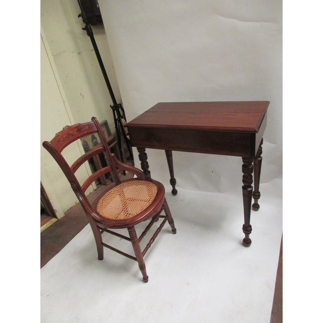 1930s 1930s Children's Spinet Flip Top Walnut Writing Desk with Caned Chair For Sale - Image 5 of 13