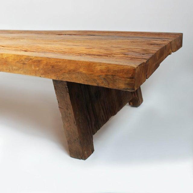Modern Elm Slab Coffee Table For Sale - Image 3 of 4