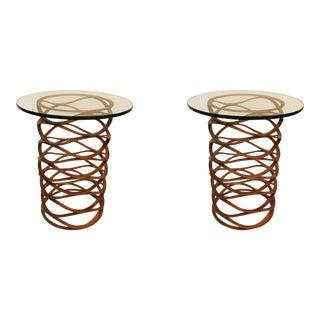Modern Gold Leaf Bracelet Tables - A Pair For Sale