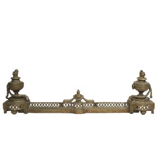 French 19th Century Louis XVI Gilded Bronze Andiron Fender Set For Sale