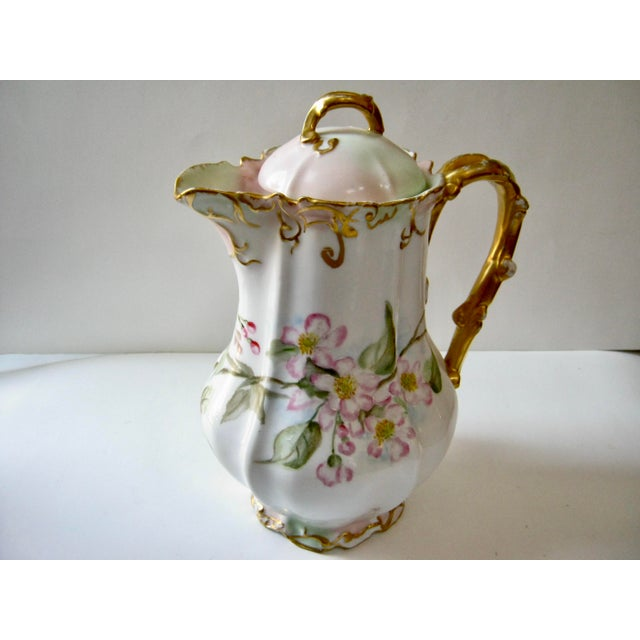 French Country Antique Late 19th Century Limoges France Hand Painted Apple Blossom Chocolate / Cocoa Pot For Sale - Image 3 of 7