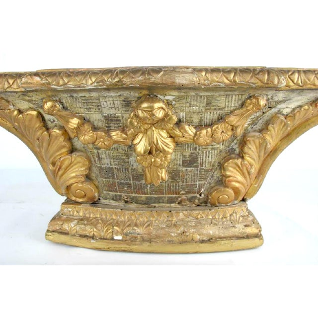 Wonderful 18th century French Louis period XVI carved tabletop giltwood altar pedestal with garland and foliate motifs....