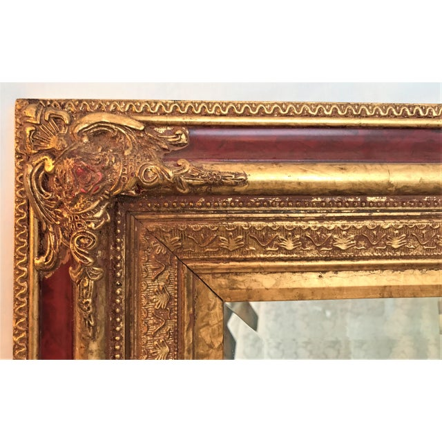Neoclassical Beveled Faux Gilt Mirror - Image 4 of 4