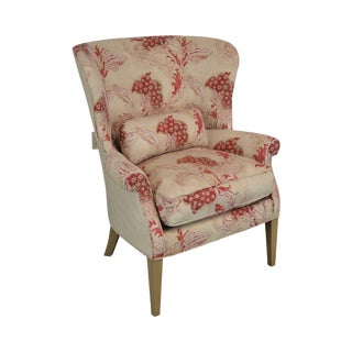 Ferguson Copeland Custom Upholstered Channel Back Wing Chair For Sale