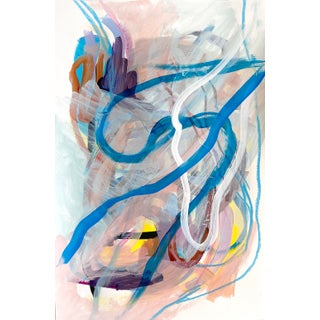 Blue and Tan Abstract Contemporary Painting For Sale