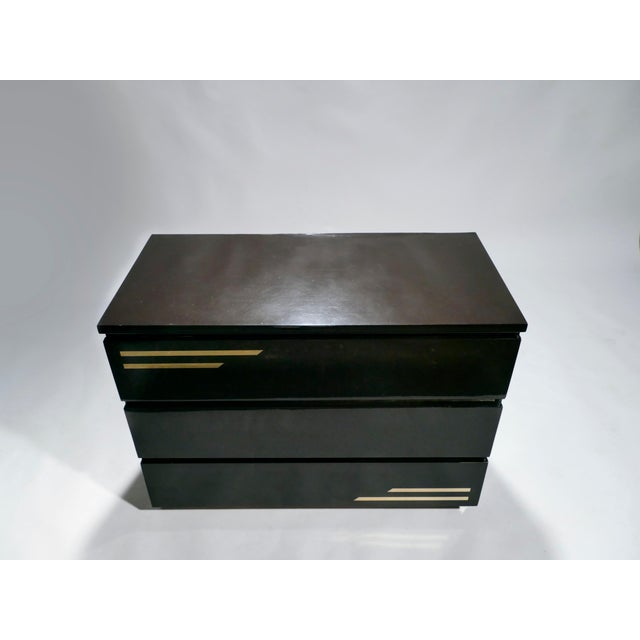Jean Claude Mahey Dark Brown Lacquer and Brass Chest of Drawers by j.c. Mahey, 1970s For Sale - Image 4 of 10