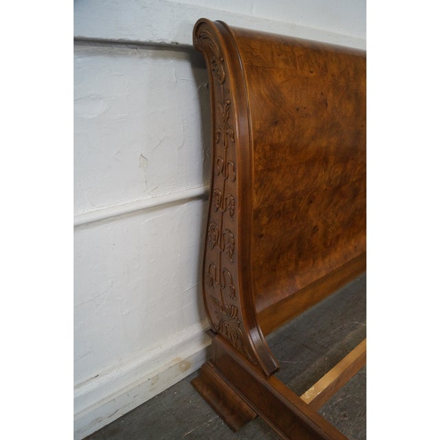 Brown Henredon Charles X Queen Size Burl Wood Sleigh Bed For Sale - Image 8 of 10