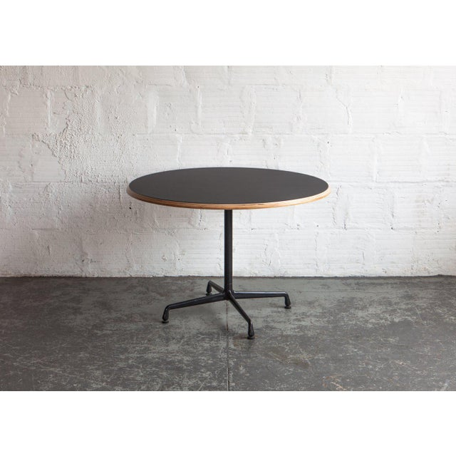 S MidCentury Modern Black Round Cafe Table Chairish - Round metal cafe table