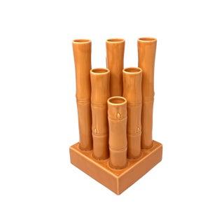 Global Views Orange Ceramic Bamboo Nine-Vessel Vase For Sale
