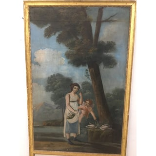 """18th Century French Trumeau Mirror With """"Amour Conjugal"""" Painting Preview"""