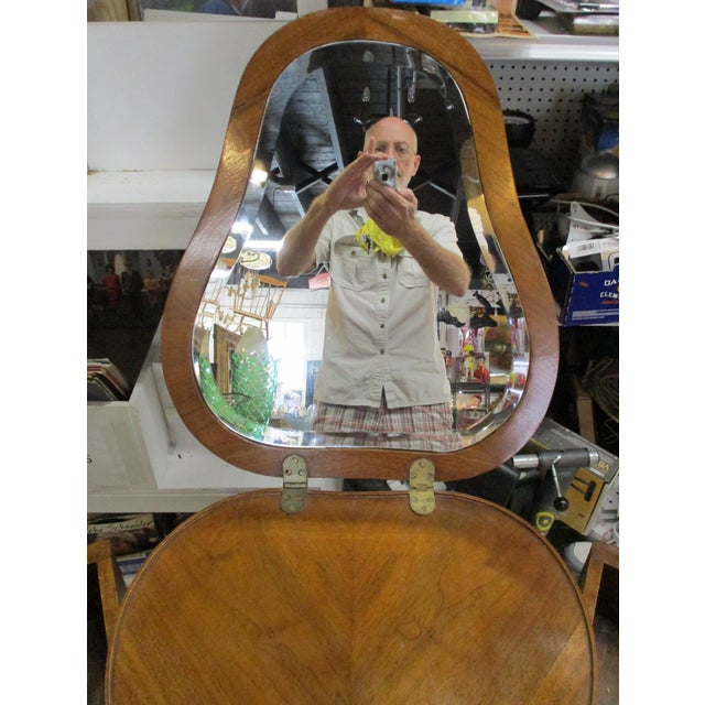 Egyptian Inlaid Wood Three Leg Flip-Up Mirror Top Vanity Dressing Table For Sale In Miami - Image 6 of 13