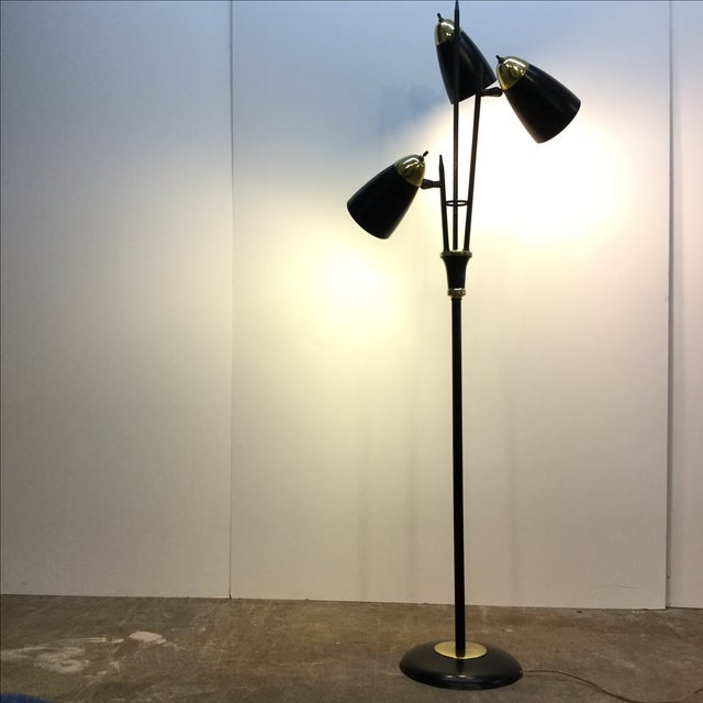 Mid-Century Black & Brass Adjustable Floor Lamp - Image 2 of 5