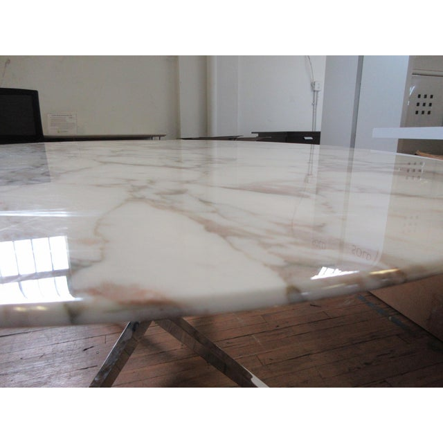 """2000 - 2009 Florence Knoll 78"""" Calacatta Marble Top Oval Table Desk For Sale - Image 5 of 8"""