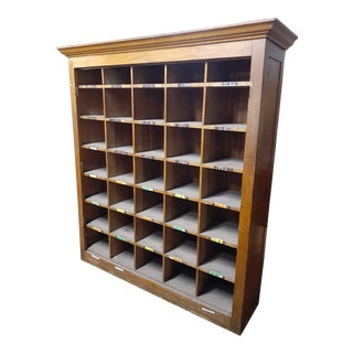 1940s Vintage Mid Century Modern Oak Storage Cabinet For Sale