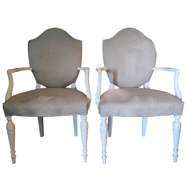 Vintage Reupholstered Gray Dining Chairs - A Pair - Image 1 of 6