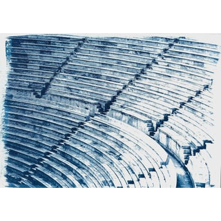 100x70cm, Colossal Greek Marble Amphitheater Blueprint, Cyanotype Hand Printed on Watercolor Paper, Classical Style For Sale