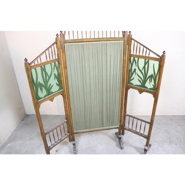 Brown 20th Century French Art Nouveau in Wood Colored Glass and Fabric Screen For Sale - Image 8 of 11