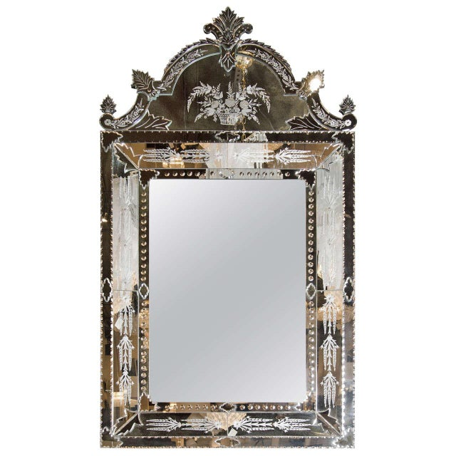 Glass Exquisite Venetian Style Mirror with Stylized Foliage Detailing For Sale - Image 7 of 7