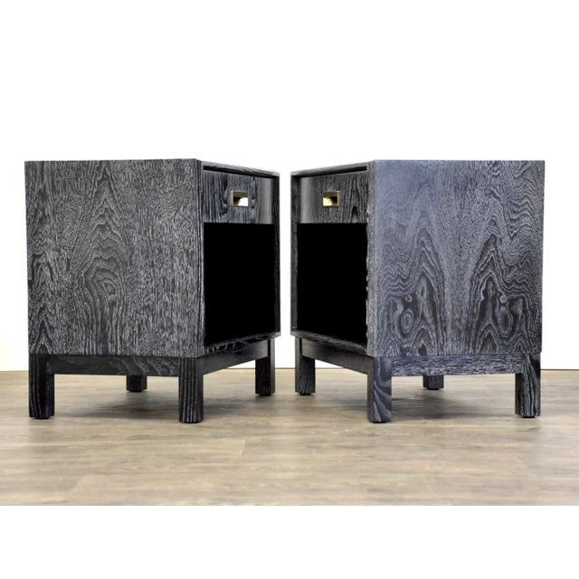 Mid-Century Modern Black Cerused Mid Century Modern Nightstands - a Pair For Sale - Image 3 of 13